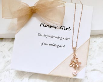 Rose gold flower girl necklace, little girls necklace, pink flower girl necklace, flower girl gift