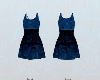 Modern Hippie Flare Dress Dark Blue Mandala and Primitive Paisley Faux Denim Pattern Print