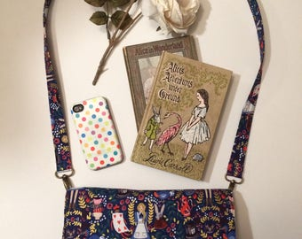 Alice in Wonderland Floral Fabric Crossbody Purse // Clutch Handbag // Glenda // Vegan // metallic gold