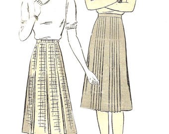 1940s Skirt Pattern Butterick Box Pleats Unprinted Vintage Sewing Women's Misses Size 14 Waist 27 Inches Hip 35 Inches