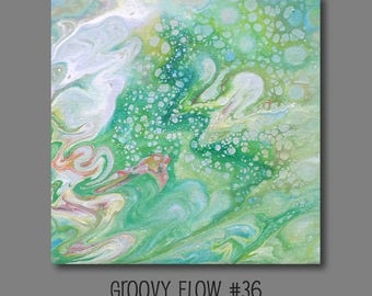 Groovy Abstract Acrylic Flow Painting #36 Ready to Hang 8x8