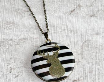 Stag's Head Locket Necklace, Deer Necklace, Woodland Jewelry, Stag Locket, Deer Pendant