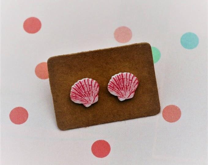 Pink Shell Earrings, Teeny Tiny Earrings, Seaside Jewelry, Cute Earrings