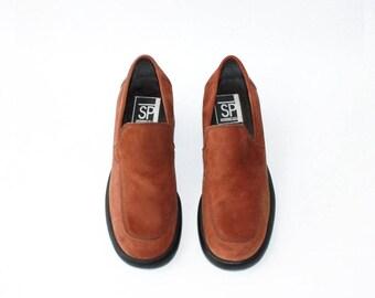 SALE - 1990s Rust Brown Nubuck Loafers Platforms