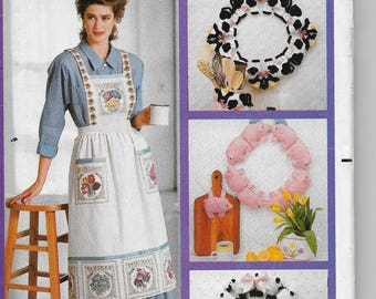 Vintage Butterick 4164 Wendy Everett Designs Country Cow Pig Sheet Wreath Ladies  Apron and  Jacket Softie Pigs, Lambs Cows One Size Softies
