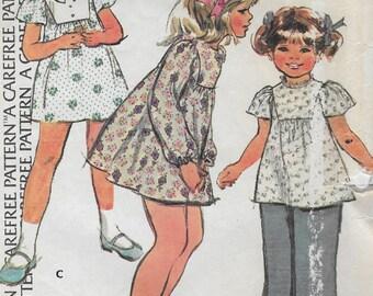 Vintage McCalls 3991 Extra Carefree Childs Girls Dress or top, Size 5 Long Sleeve or Flutter Sleeve Easter Spring Summer Dress 1974