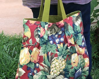 Hand made fabric hand bag shopping bag tropical fruits tote summer bag market tote bags and purses