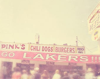 Los Angeles photography, LA Lakers basketball fans, Pink's, hot dog stand Hollywood California travel, for him, sports lovers gift