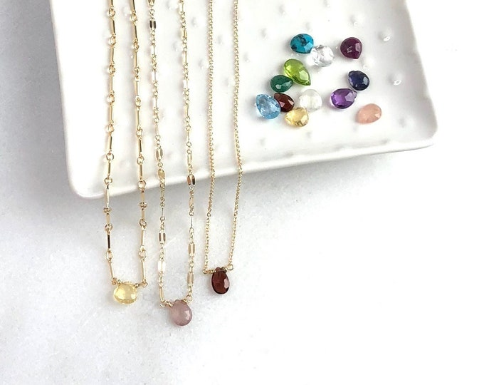 Featured listing image: Birthstone Necklace, Gift for Mothers, Birthstone Jewelry, Birthday Gift for her, Gemstone Necklace, The Silver Wren, Birthday Necklace
