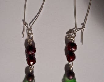 artisan made green sea glass earrings with red cultured pearls