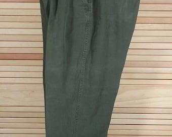Vintage 90s green mens khaki pants heavy cotton casual jeans size 36 x 29