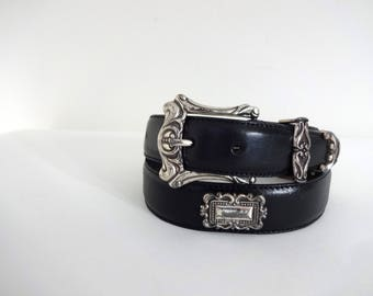 Vintage FOSSIL Belt • 1990s Ornate Western Black Leather Studded Rodeo Embellished Belt Silver Buckle Concho Nashville 90s Selena Americana