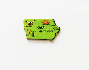 1961 Iowa Brooch - Pin / Unique Wearable History Gift Idea / Upcycled Vintage Wood Jewelry / Timeless Gift Under 25
