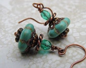 Color Pop Turquoise Drops with Magnesite, Czech Glass and Antique Copper