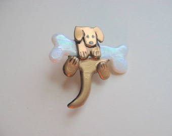 Dog with a bone pin Brooch