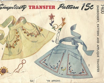 1940s Simplicity 7400 Vintage Sewing Pattern Misses Half Apron, Clothespin Apron One Size Embroidery Transfer