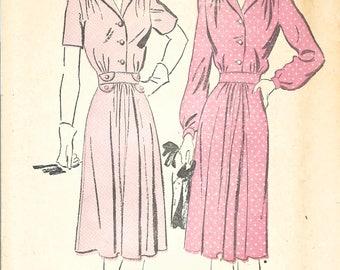 1940s Advance 3075 FF Vintage Sewing Pattern Misses Shirtwaist Dress, One Piece Dress Size 14 Bust 32