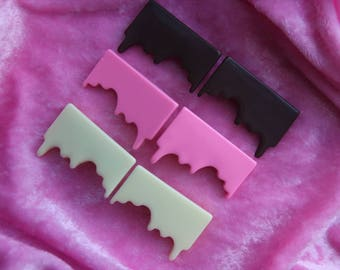 Melty Chocolate Hair Clips - Kawaii - Cute - Strawberry - Milk - White - Melted Chocolates - Clip - Decoden - Sweets - Handmade