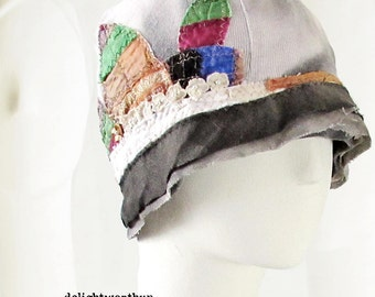 Appliqued Gray Cotton Cloche_Multi Color Silk Leaves