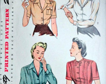Vintage 40's Women's Blouse Sewing Pattern, Simplicity 4608, Size 34, 34 Bust, 1940's WW11 Era Fashion