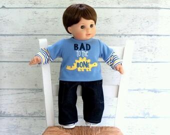 15 inch Boy Doll Clothes Dinosaur Tee Shirt with Denim Cargo Pants