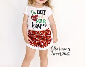 NEW I'm Out of You League, Biggest Fan, Football Sister Glitter Top and Ruffled Shorts Set, Football Fan, Baby Outfit, Toddler Girl Clothes