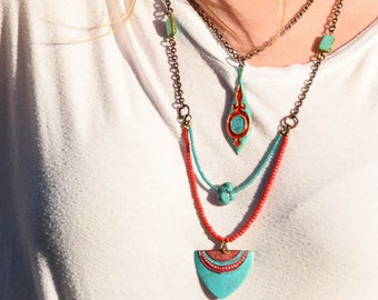 SALE 2-strand Necklace painted red and turquoise (I351)