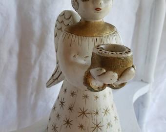 Vintage Angel Candleholder, Large, Rare, Sylvia Hood Original, Chalkware, California Pottery