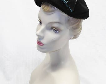 1950s Vintage Black Velour Hat with Turquoise Color Trim by Hardesty