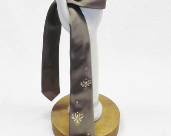 1960s Vintage Gray Hand Painted Skinny Necktie by Coronet of California