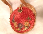 Vintage 40s 50s Circular straw Purse Coral with Green n Natural Color Straw Flowers 3-D Flowers Shoulder Strap Purse. 1940s Round Handbag