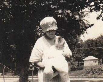 Original Vintage Photograph Woman Holding Baby 1920s