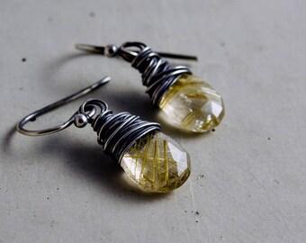 Rutilated Quartz, Quartz Earrings, Tourmalinated Quartz, Drop Earrings, Dangle Drops, Quartz Earrings, Sterling Silver, Gold Gemstones