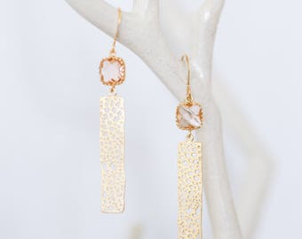 Champagne bar drop Earrings | Gold | Rectangle Dangle | filigree, nature, beach-inspired, glass, charm jewelry | Handmade in Santa Cruz