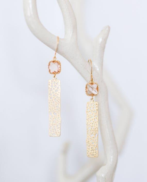 Champagne gold bar earrings