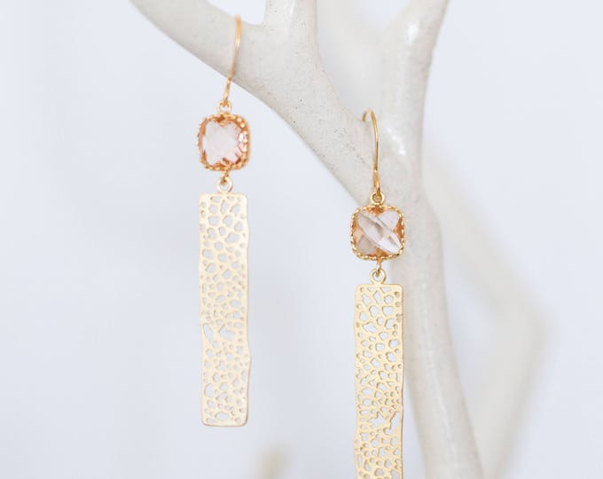 Champagne gold bar earrings