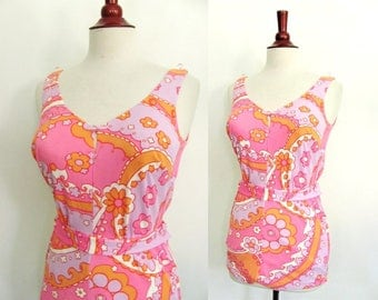 Vintage 1960's Swimsuit Romper/ Catalina Pucci style Mod Print in Pinks Lavender / 60's One Piece Romper  Pin Up Bomb Shell bathing suit