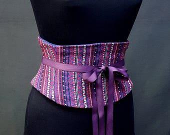 Blue and Red Striped Corset Waist Cincher Obi Belt