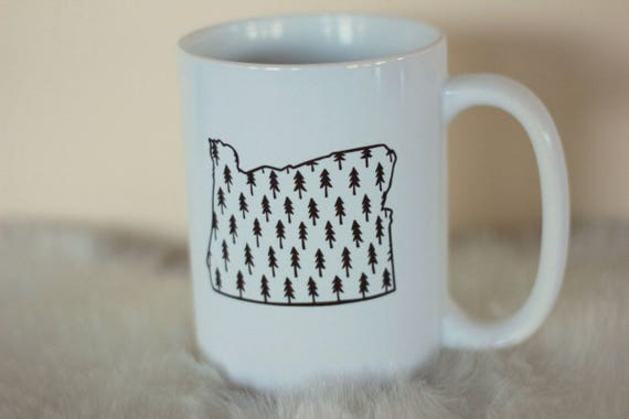 Oregon Tree Print Coffee handdrawn Mug PNW Adventurous  Explore Camping Hiking Handwritten Travel Forest