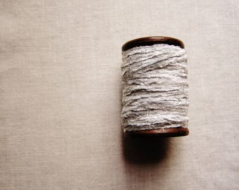 Seasalt Grey rayon Chenille Ribbon on a Hand painted espresso wooden spool