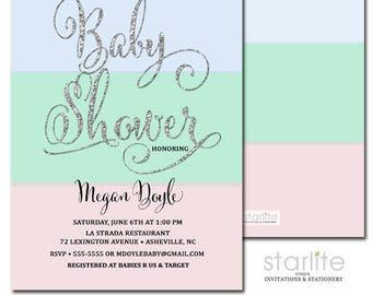 Blue Mint Pink Baby Shower Invitation | Pink Blue Mint Silver Glitter Invite | Gender Neutral Baby Shower Invitation | Printable | Printed