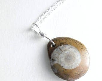 Small Brown Fossil Necklace, Sterling Silver Ammonite Jewelry