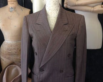 Vintage 1940's peaked lapel double breasted brown jacket small Timely Clothes, M. McInerny, LTD. Honolulu, T.H.