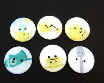 I'm a Little Teapot Buttons. Handmade Buttons.  Nursery Rhyme or Children's Song Buttons for Sewing.