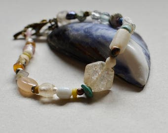 Antique Quartz and Trade Bead Boho Bracelet Small