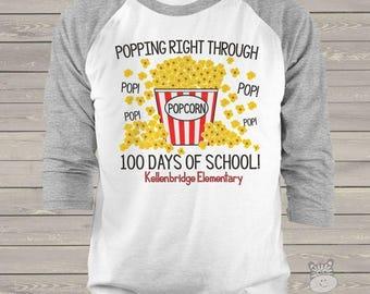 Teacher shirt - 100 Days Smarter - popcorn hundred day raglan shirt for teachers  mscl-125-r