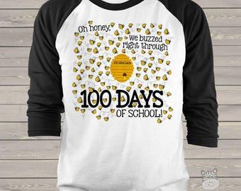 Teacher shirt - 100 Days Smarter - honey bee hundred day raglan shirt for teachers   mscl-126-r