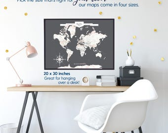 Personalized gift for her, Personalized gifts for her, Gifts for Her Personalized Push Pin Map World Map Canvas or Print// H-I30-1PS AA4