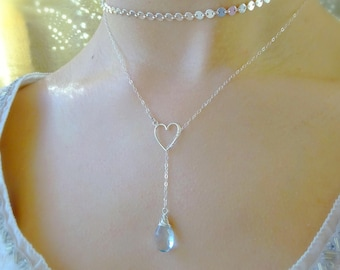 Custom Gemstone Y necklace, heart love Valentine's Day gift, plunging lariat real natural birthstone Otis B Bridesmaids gifts bridal wedding