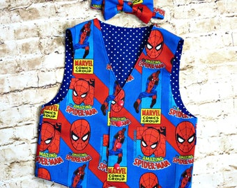 Spiderman Clothes - Spiderman Birthday Party - Toddler Boy Outfit - Vest and Bow Tie - Little Boys Clothes - Baby Boy - 12 mo to 8 yrs